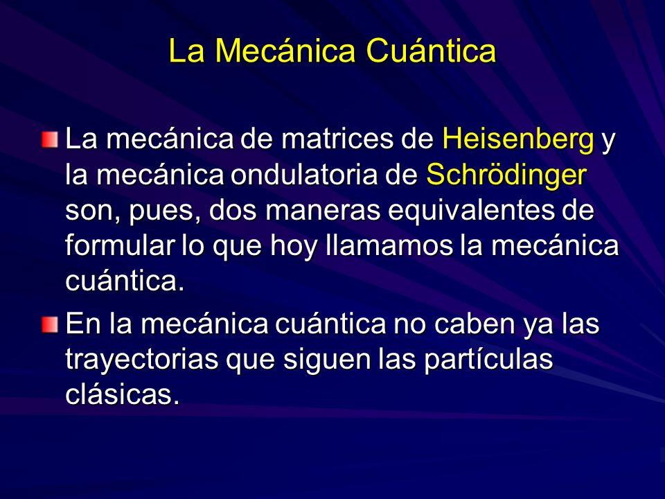 La Mecánica Cuántica La mecánica de matrices de Heisenberg y la mecánica ondulatoria de Schrödinger son, pues, dos maneras equivalentes de formular lo