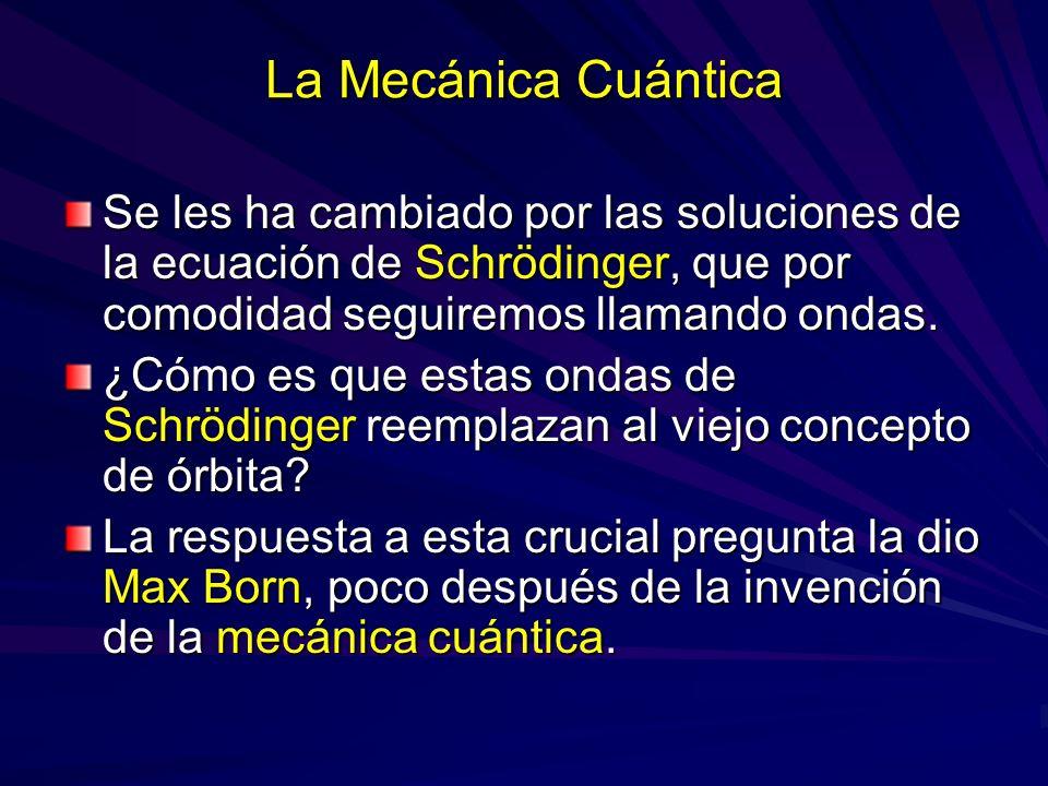 La Mecánica Cuántica Se les ha cambiado por las soluciones de la ecuación de Schrödinger, que por comodidad seguiremos llamando ondas. ¿Cómo es que es