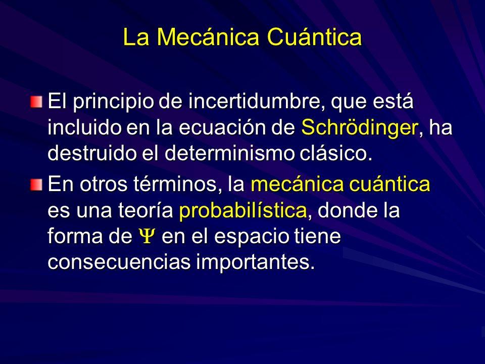 La Mecánica Cuántica El principio de incertidumbre, que está incluido en la ecuación de Schrödinger, ha destruido el determinismo clásico. En otros té