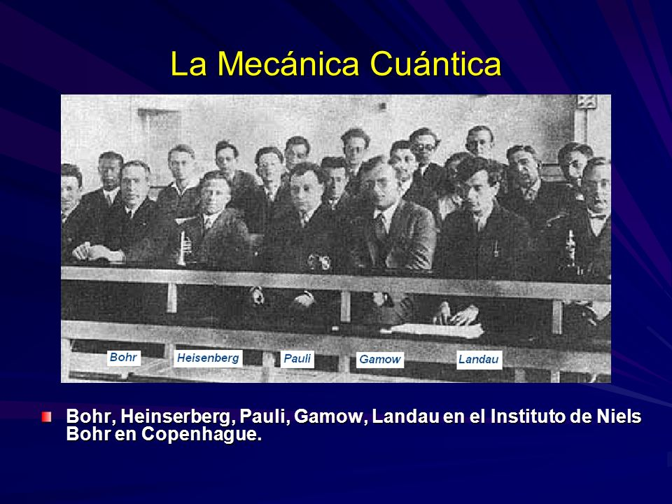 La Mecánica Cuántica Bohr, Heinserberg, Pauli, Gamow, Landau en el Instituto de Niels Bohr en Copenhague.