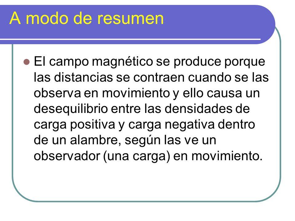 A modo de resumen El campo magnético se produce porque las distancias se contraen cuando se las observa en movimiento y ello causa un desequilibrio en