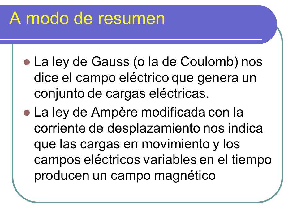 A modo de resumen La ley de Gauss (o la de Coulomb) nos dice el campo eléctrico que genera un conjunto de cargas eléctricas. La ley de Ampère modifica