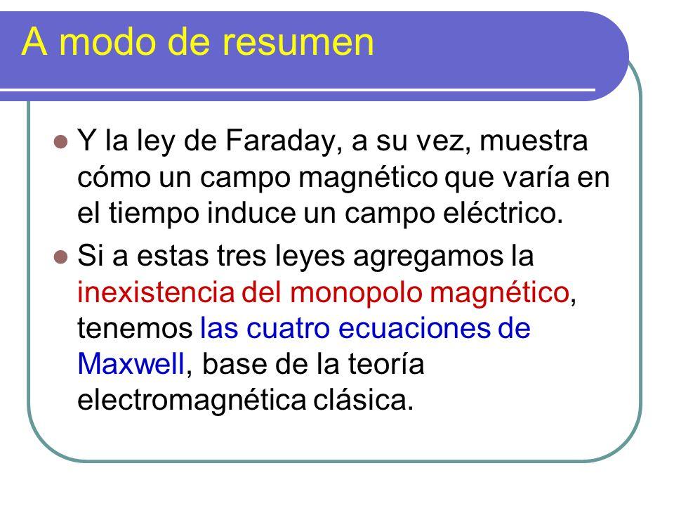 A modo de resumen Y la ley de Faraday, a su vez, muestra cómo un campo magnético que varía en el tiempo induce un campo eléctrico. Si a estas tres ley