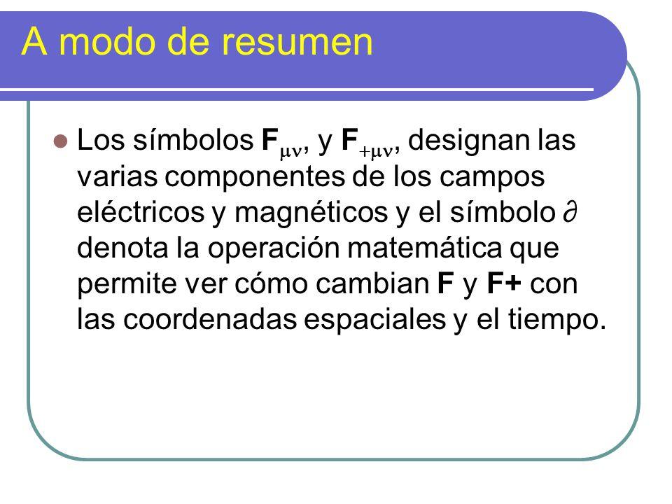 A modo de resumen Los símbolos F, y F, designan las varias componentes de los campos eléctricos y magnéticos y el símbolo denota la operación matemáti