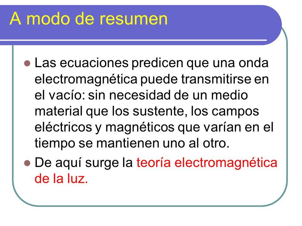 A modo de resumen Las ecuaciones predicen que una onda electromagnética puede transmitirse en el vacío: sin necesidad de un medio material que los sus