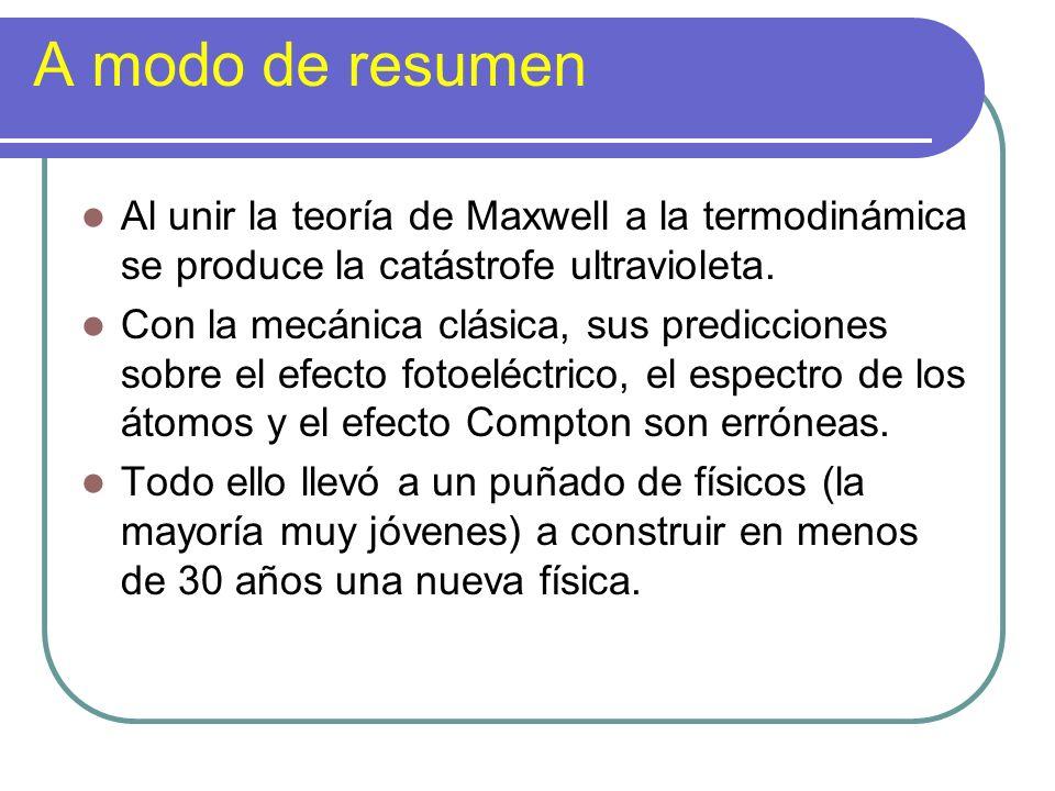 A modo de resumen Al unir la teoría de Maxwell a la termodinámica se produce la catástrofe ultravioleta. Con la mecánica clásica, sus predicciones sob