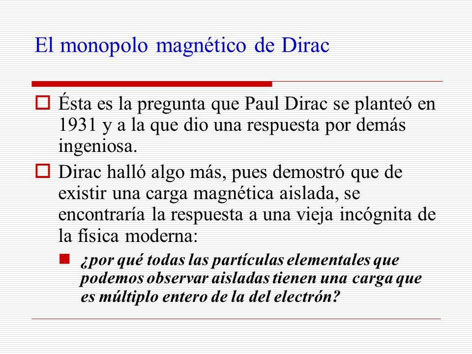 El monopolo magnético de Dirac Ésta es la pregunta que Paul Dirac se planteó en 1931 y a la que dio una respuesta por demás ingeniosa. Dirac halló alg