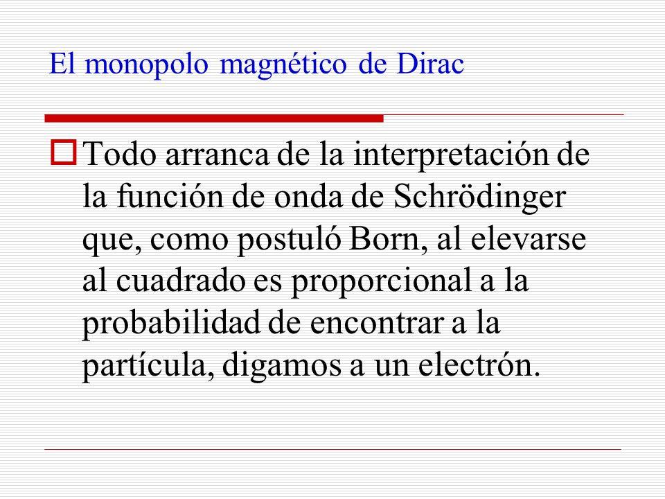 El monopolo magnético de Dirac Todo arranca de la interpretación de la función de onda de Schrödinger que, como postuló Born, al elevarse al cuadrado