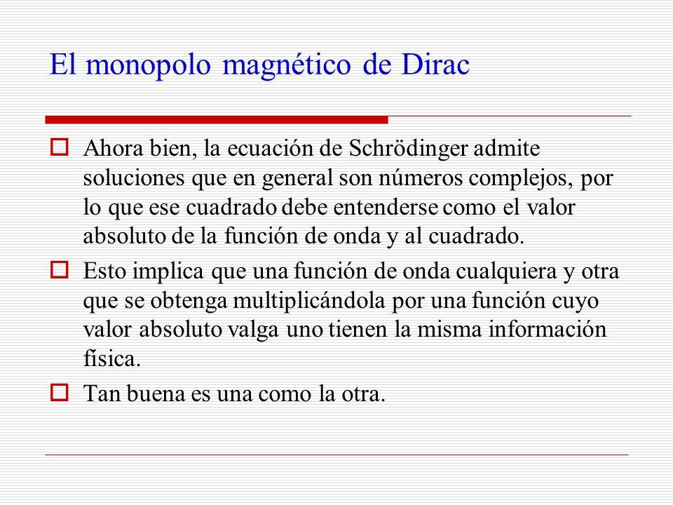 El monopolo magnético de Dirac Ahora bien, la ecuación de Schrödinger admite soluciones que en general son números complejos, por lo que ese cuadrado