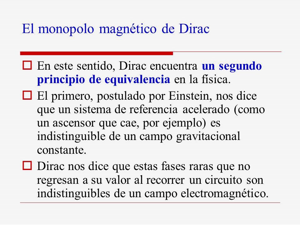El monopolo magnético de Dirac En este sentido, Dirac encuentra un segundo principio de equivalencia en la física. El primero, postulado por Einstein,