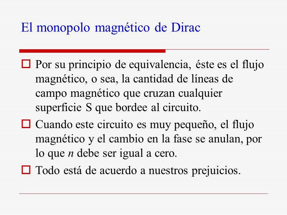 El monopolo magnético de Dirac Por su principio de equivalencia, éste es el flujo magnético, o sea, la cantidad de líneas de campo magnético que cruza
