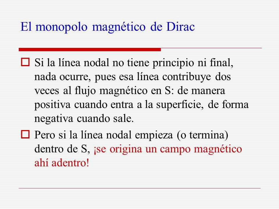 El monopolo magnético de Dirac Si la línea nodal no tiene principio ni final, nada ocurre, pues esa línea contribuye dos veces al flujo magnético en S