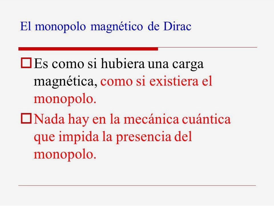 El monopolo magnético de Dirac Es como si hubiera una carga magnética, como si existiera el monopolo. Nada hay en la mecánica cuántica que impida la p