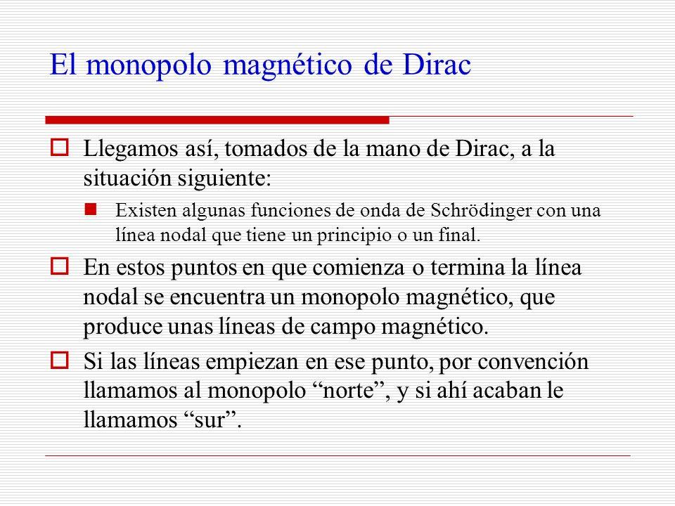 El monopolo magnético de Dirac Llegamos así, tomados de la mano de Dirac, a la situación siguiente: Existen algunas funciones de onda de Schrödinger c