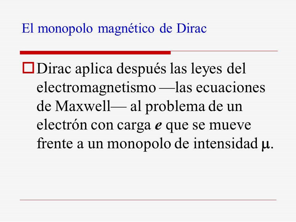 El monopolo magnético de Dirac Dirac aplica después las leyes del electromagnetismo las ecuaciones de Maxwell al problema de un electrón con carga e q