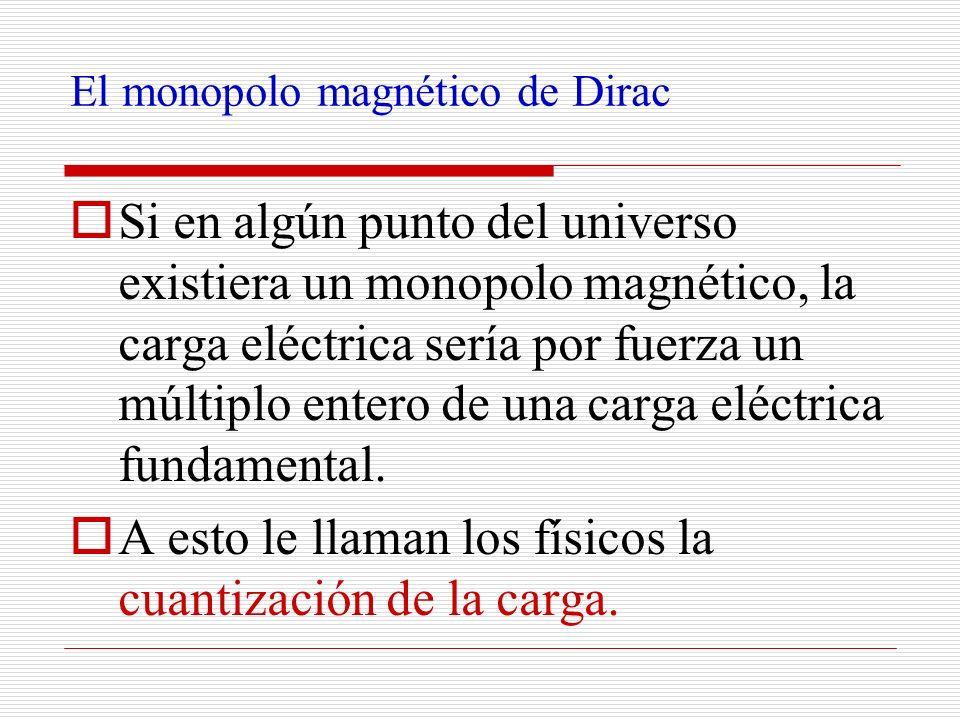 El monopolo magnético de Dirac Si en algún punto del universo existiera un monopolo magnético, la carga eléctrica sería por fuerza un múltiplo entero