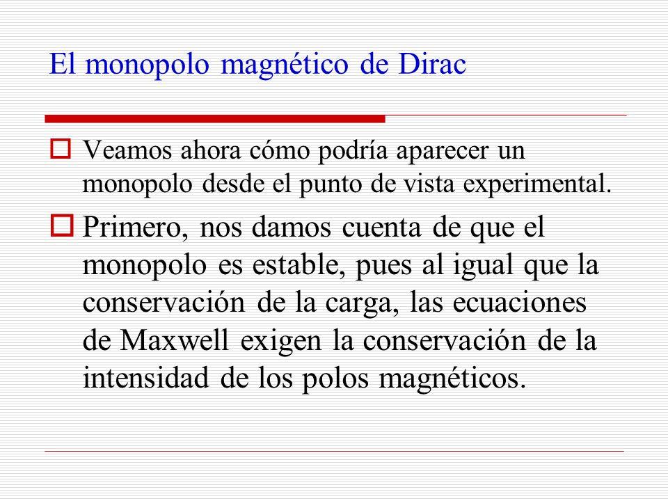 El monopolo magnético de Dirac Veamos ahora cómo podría aparecer un monopolo desde el punto de vista experimental. Primero, nos damos cuenta de que el