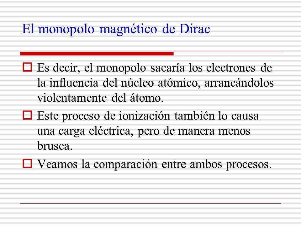 El monopolo magnético de Dirac Es decir, el monopolo sacaría los electrones de la influencia del núcleo atómico, arrancándolos violentamente del átomo