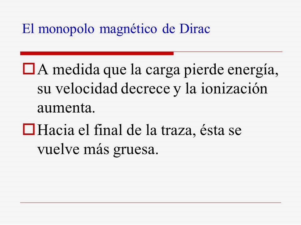 El monopolo magnético de Dirac A medida que la carga pierde energía, su velocidad decrece y la ionización aumenta. Hacia el final de la traza, ésta se