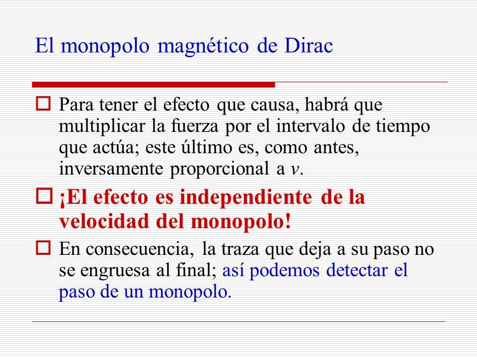 El monopolo magnético de Dirac Para tener el efecto que causa, habrá que multiplicar la fuerza por el intervalo de tiempo que actúa; este último es, c