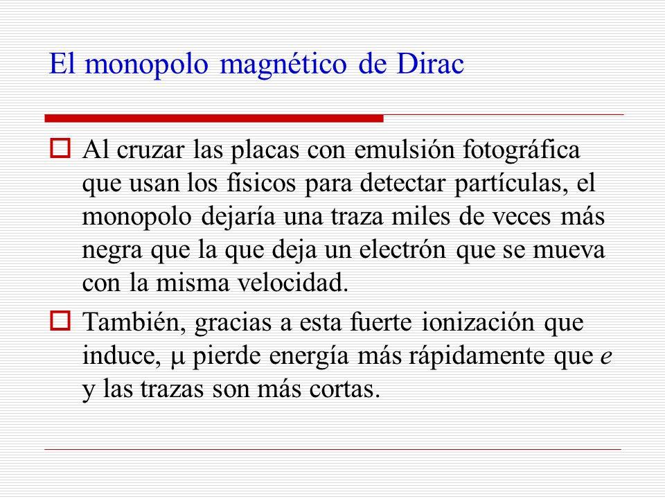 El monopolo magnético de Dirac Al cruzar las placas con emulsión fotográfica que usan los físicos para detectar partículas, el monopolo dejaría una tr