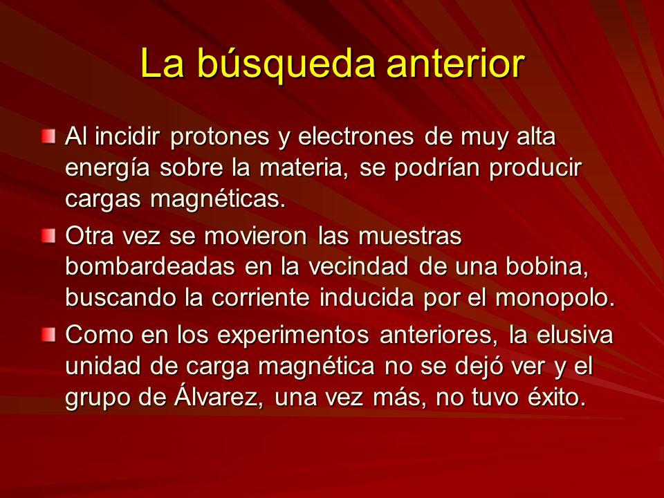 La búsqueda anterior Al incidir protones y electrones de muy alta energía sobre la materia, se podrían producir cargas magnéticas. Otra vez se moviero