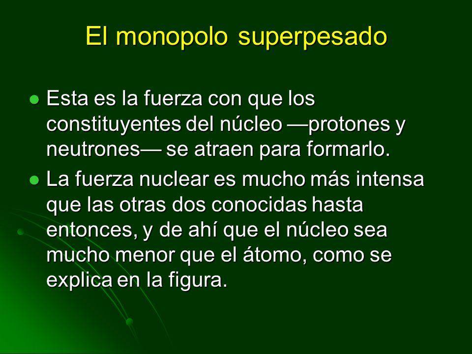 El monopolo superpesado Esta es la fuerza con que los constituyentes del núcleo protones y neutrones se atraen para formarlo. Esta es la fuerza con qu