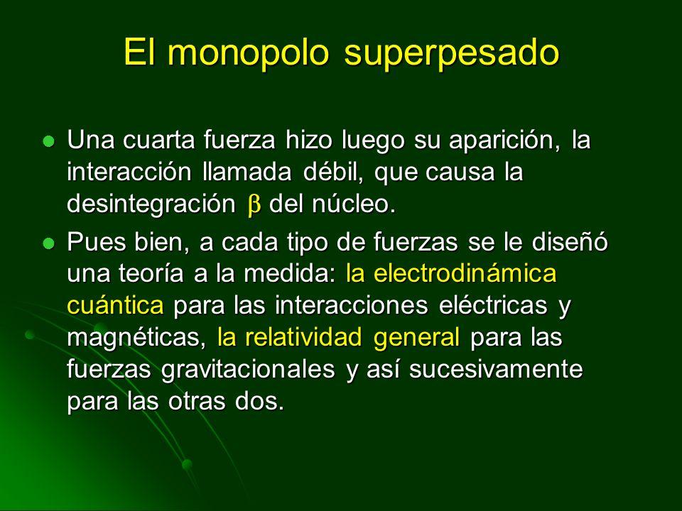 El monopolo superpesado Una cuarta fuerza hizo luego su aparición, la interacción llamada débil, que causa la desintegración del núcleo. Una cuarta fu