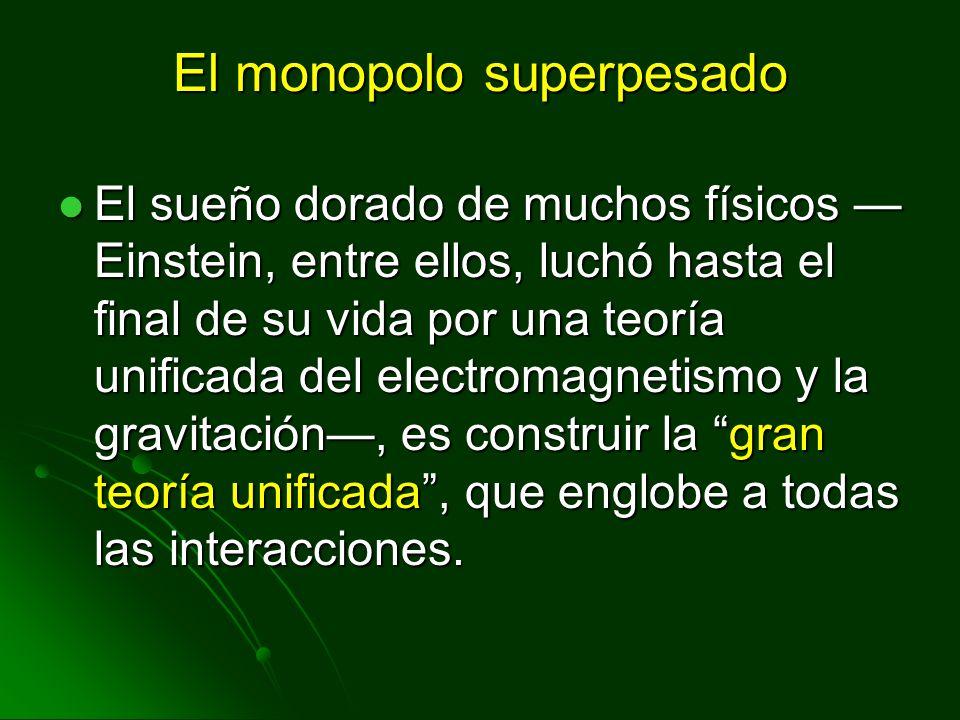 El monopolo superpesado El sueño dorado de muchos físicos Einstein, entre ellos, luchó hasta el final de su vida por una teoría unificada del electrom