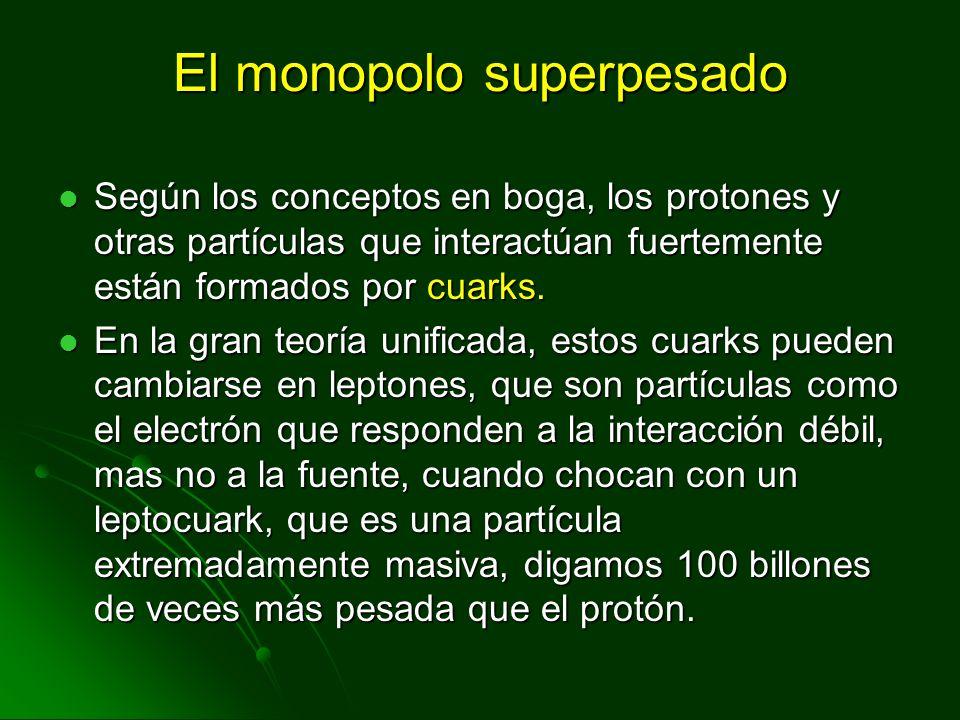 El monopolo superpesado Según los conceptos en boga, los protones y otras partículas que interactúan fuertemente están formados por cuarks. Según los