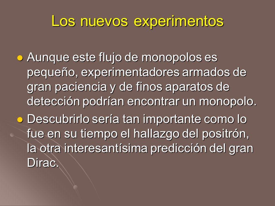 Los nuevos experimentos Aunque este flujo de monopolos es pequeño, experimentadores armados de gran paciencia y de finos aparatos de detección podrían