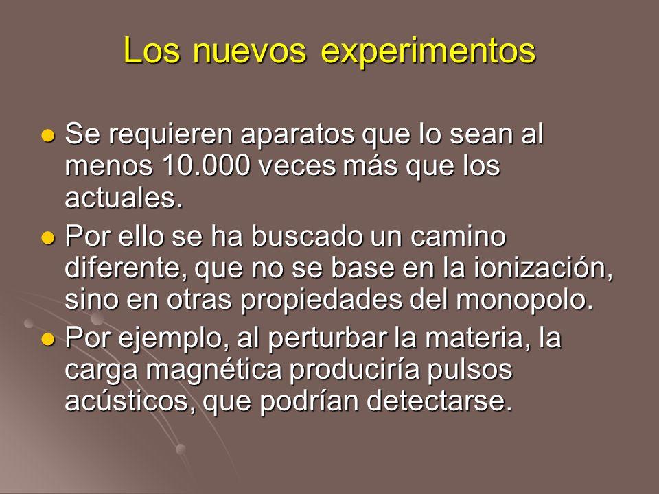 Los nuevos experimentos Se requieren aparatos que lo sean al menos 10.000 veces más que los actuales. Se requieren aparatos que lo sean al menos 10.00