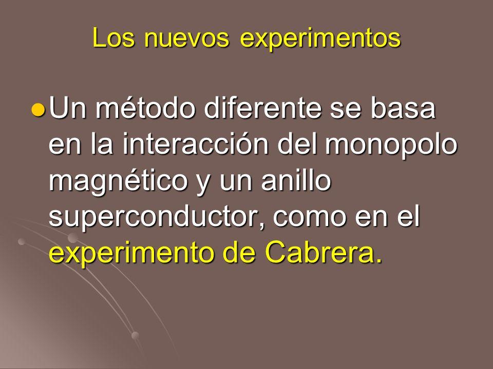Los nuevos experimentos Un método diferente se basa en la interacción del monopolo magnético y un anillo superconductor, como en el experimento de Cab