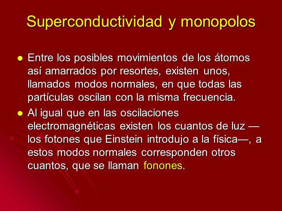 Superconductividad y monopolos Entre los posibles movimientos de los átomos así amarrados por resortes, existen unos, llamados modos normales, en que