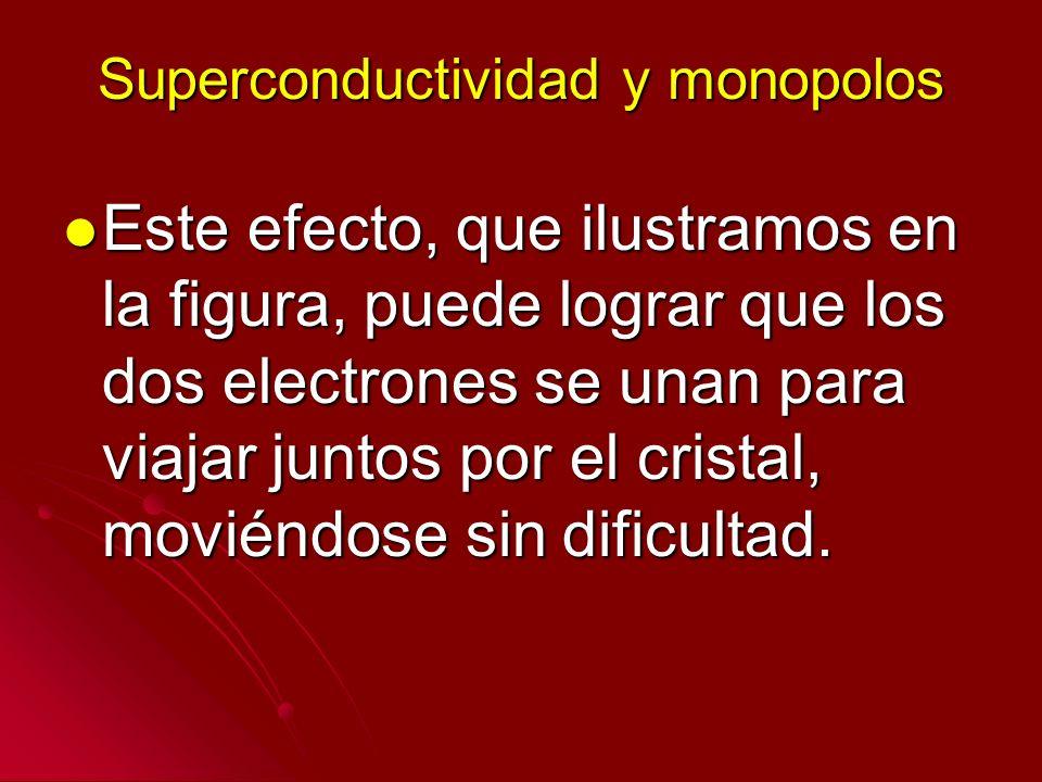 Superconductividad y monopolos Este efecto, que ilustramos en la figura, puede lograr que los dos electrones se unan para viajar juntos por el cristal