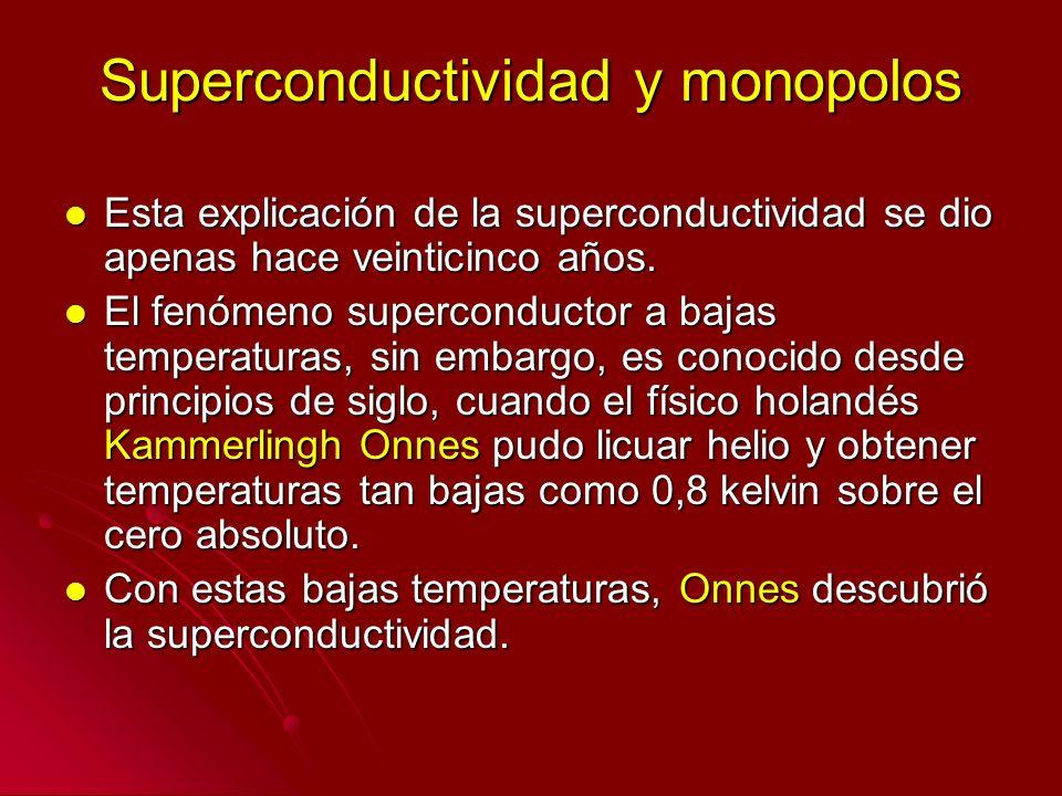 Superconductividad y monopolos Esta explicación de la superconductividad se dio apenas hace veinticinco años. Esta explicación de la superconductivida