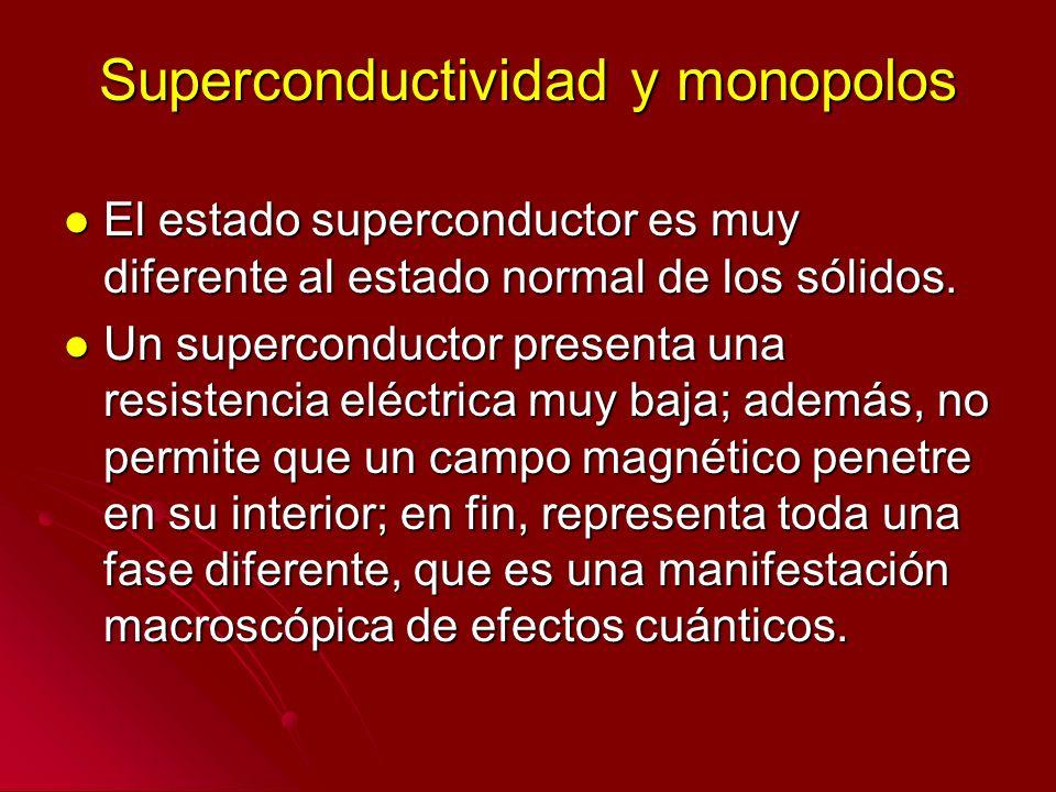 Superconductividad y monopolos El estado superconductor es muy diferente al estado normal de los sólidos. El estado superconductor es muy diferente al