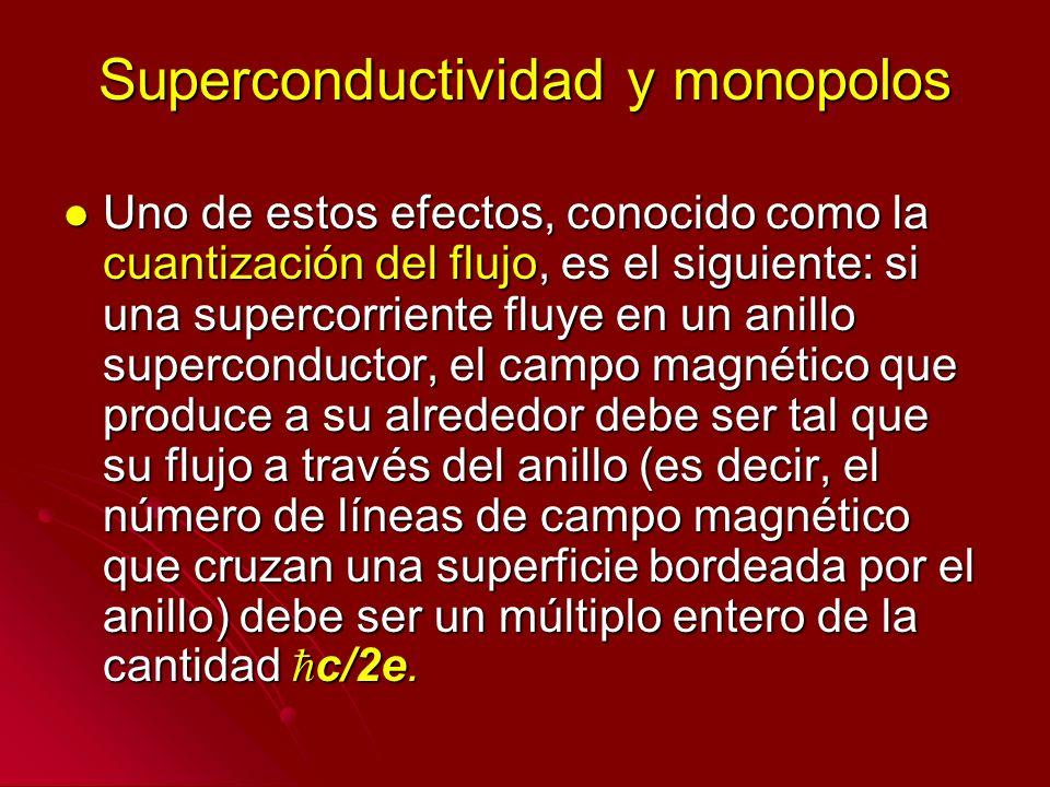 Superconductividad y monopolos Uno de estos efectos, conocido como la cuantización del flujo, es el siguiente: si una supercorriente fluye en un anill