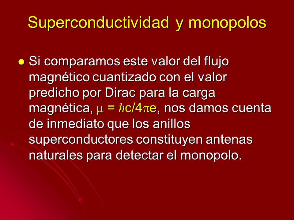 Superconductividad y monopolos Si comparamos este valor del flujo magnético cuantizado con el valor predicho por Dirac para la carga magnética, = c/4