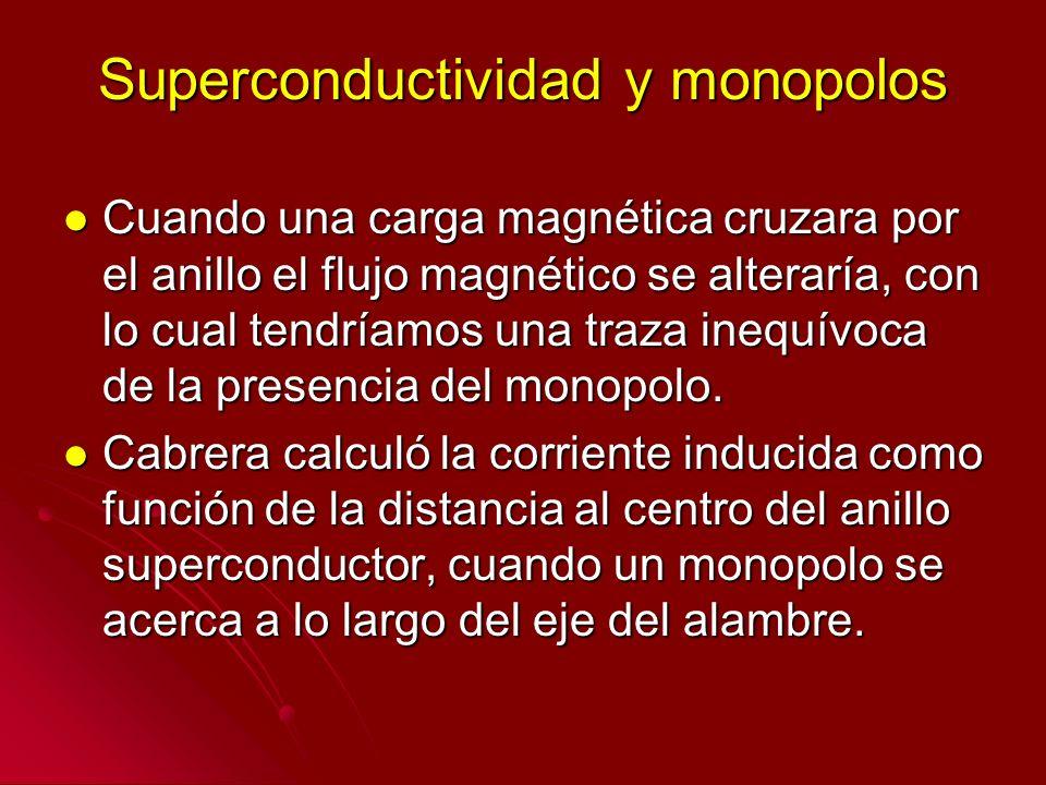 Superconductividad y monopolos Cuando una carga magnética cruzara por el anillo el flujo magnético se alteraría, con lo cual tendríamos una traza ineq
