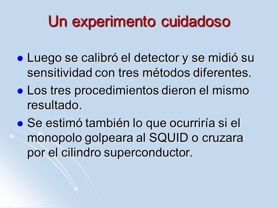 Un experimento cuidadoso Luego se calibró el detector y se midió su sensitividad con tres métodos diferentes. Luego se calibró el detector y se midió