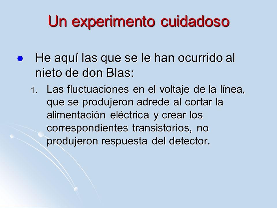Un experimento cuidadoso He aquí las que se le han ocurrido al nieto de don Blas: He aquí las que se le han ocurrido al nieto de don Blas: 1. Las fluc