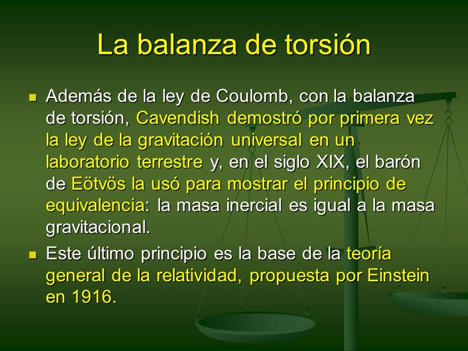 La balanza de torsión Además de la ley de Coulomb, con la balanza de torsión, Cavendish demostró por primera vez la ley de la gravitación universal en