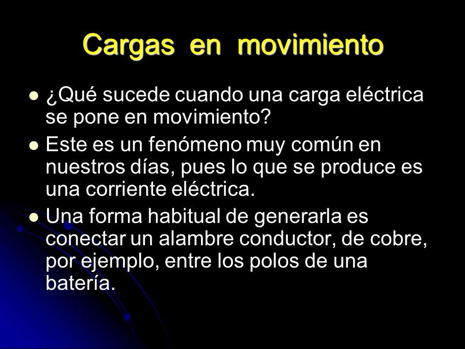 Cargas en movimiento ¿Qué sucede cuando una carga eléctrica se pone en movimiento? Este es un fenómeno muy común en nuestros días, pues lo que se prod