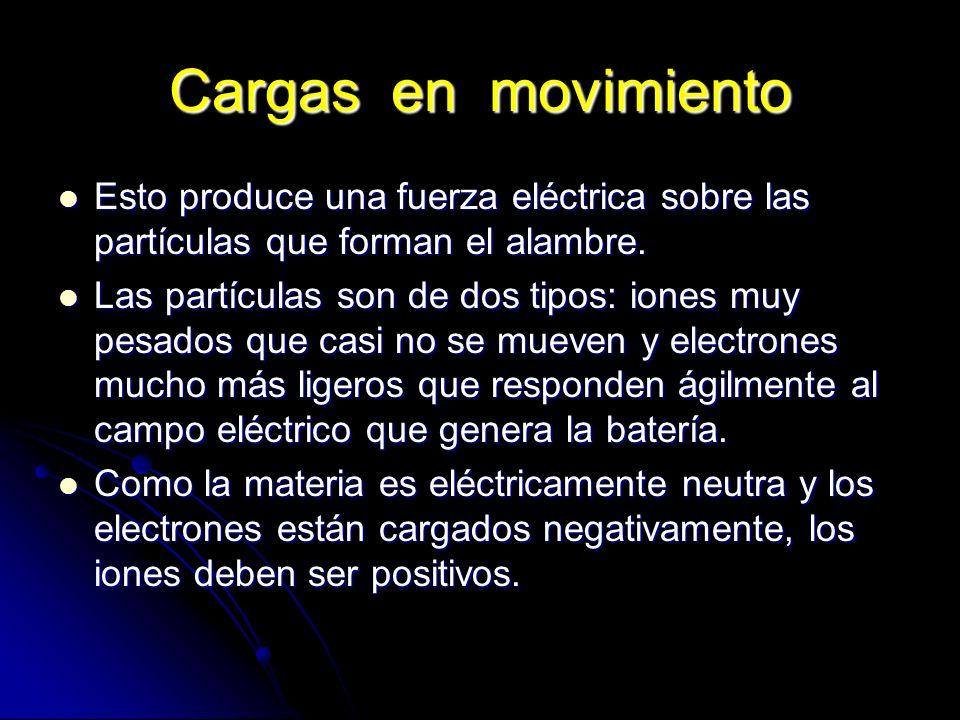 Cargas en movimiento Esto produce una fuerza eléctrica sobre las partículas que forman el alambre. Esto produce una fuerza eléctrica sobre las partícu