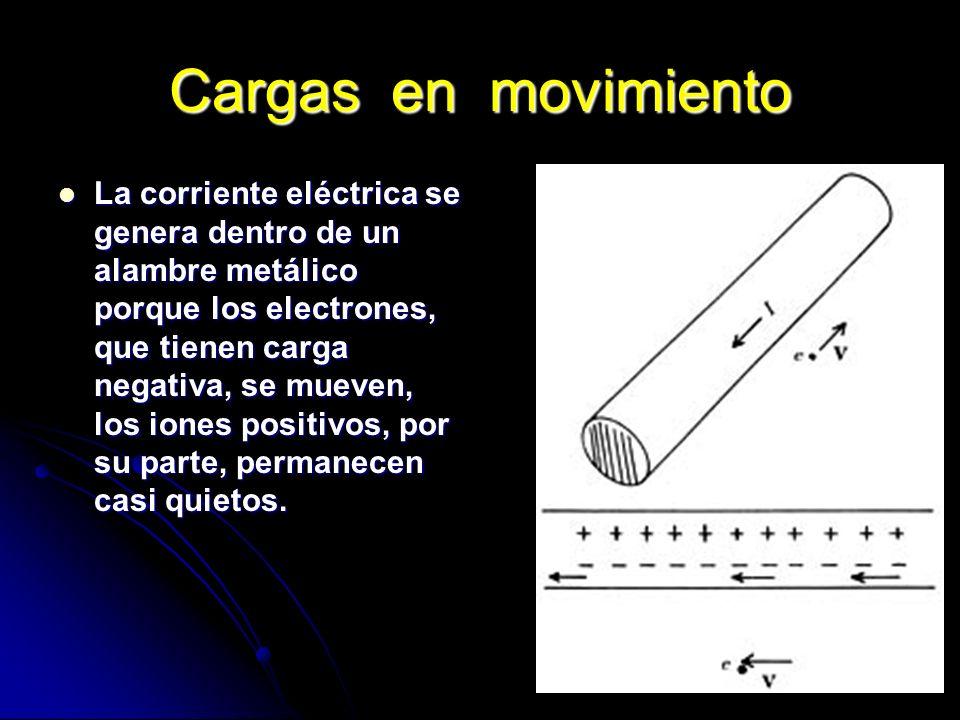 Cargas en movimiento La corriente eléctrica se genera dentro de un alambre metálico porque los electrones, que tienen carga negativa, se mueven, los i
