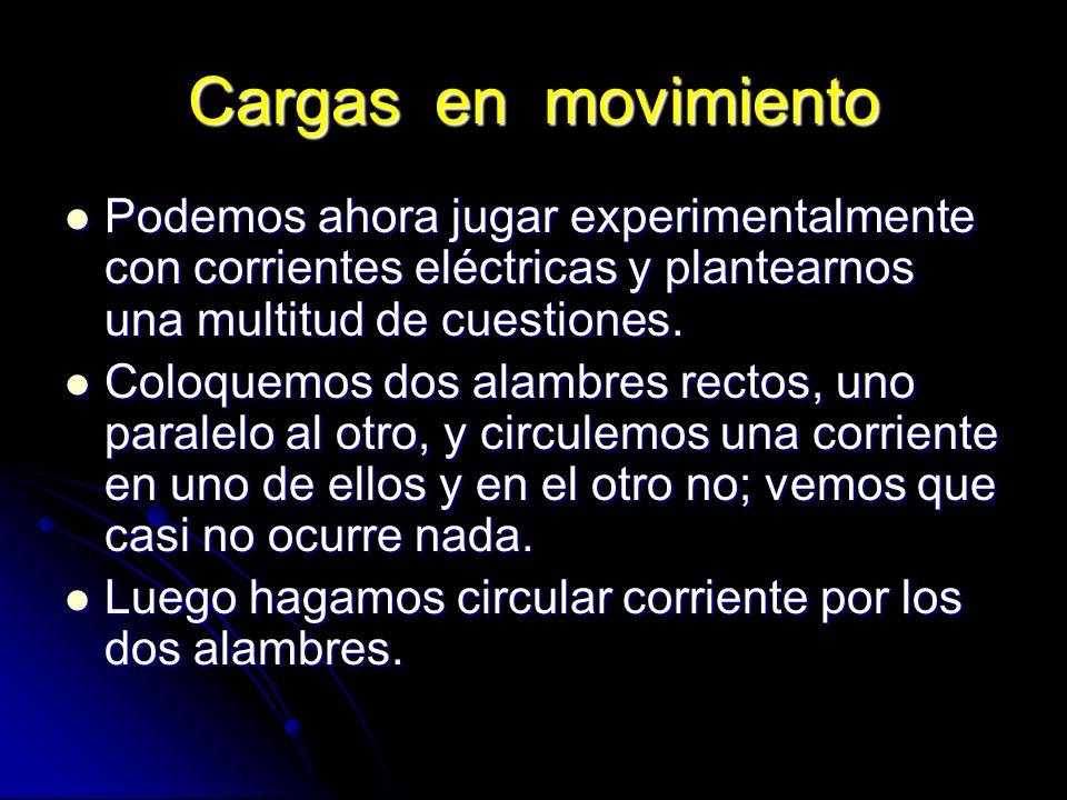 Cargas en movimiento Podemos ahora jugar experimentalmente con corrientes eléctricas y plantearnos una multitud de cuestiones. Podemos ahora jugar exp