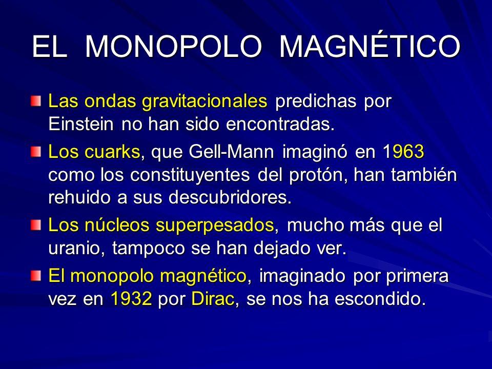 EL MONOPOLO MAGNÉTICO Las ondas gravitacionales predichas por Einstein no han sido encontradas. Los cuarks, que Gell-Mann imaginó en 1963 como los con
