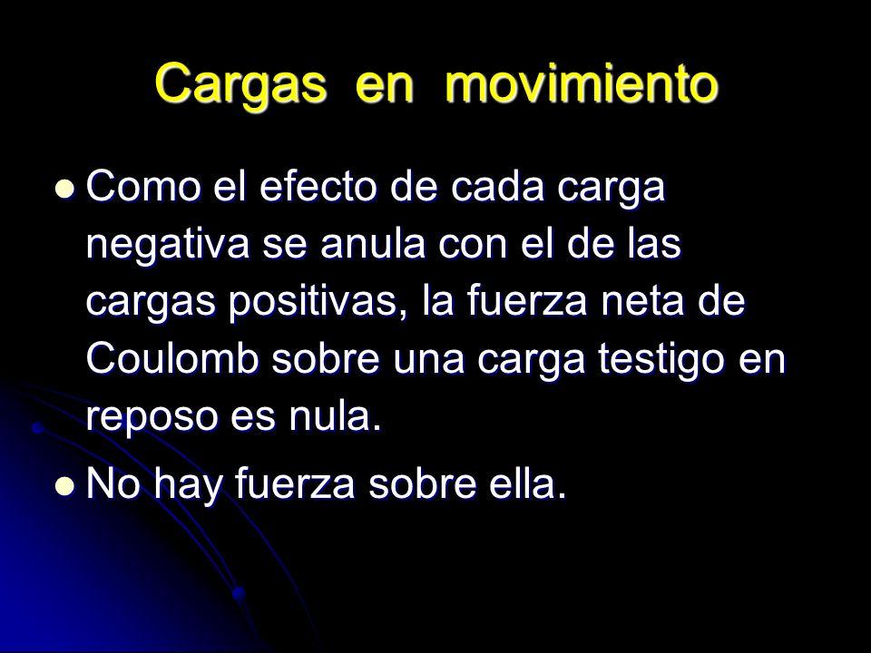 Cargas en movimiento Como el efecto de cada carga negativa se anula con el de las cargas positivas, la fuerza neta de Coulomb sobre una carga testigo