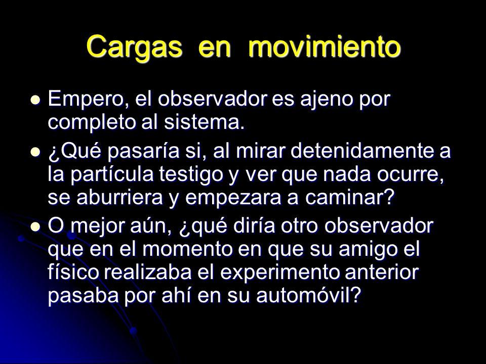 Cargas en movimiento Empero, el observador es ajeno por completo al sistema. Empero, el observador es ajeno por completo al sistema. ¿Qué pasaría si,